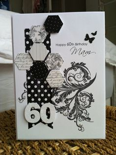 Mono 60th birthday card; brief was not flowery but glittery.