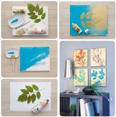 Mit Acrylfarbe bemahlt ihr eine Leinwand. Wenn die Farbe getrocknet ist klebt ihr Mithilfe von ablösbarem Sprühkleber Blätter/Blüten eurer Wahl auf die Leinwand. Darauf achten, dass alles wirklich gut festgeklebt ist damit keine Farbe darunter läuft. Im nächsten Schritt besprüht ihr nämlich die Leinwand mit Acryllack eurer Wahl. Ist dieser getrocknet entfernt ihr vorsichtig die Blätter/Blüten von der Leinwand. Mit dem ablösbaren Kleber sollte es kein Problem sein. Fertig ist das Kunstwerk