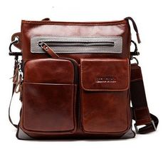 Men's leather messenger business bag genuine by WalletLeather, $140.00
