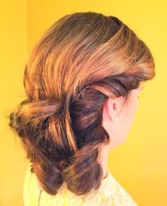 1920's hairstyle for Downton Abbey themed party. Curls pinned back. Hair by Katy Albright (Charlotte, NC)