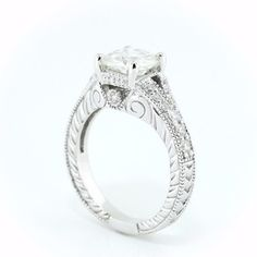 2 Carat Split Shank Vintage Style Engagement Ring - Katherine – Moissanite Rings