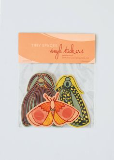 DIY Moth Vinyl Sticker Pack, three stickers Nation Residence Adorning When selecting a theme or type Sticker Shop, Sticker Design, Laptop Stickers, Cute Stickers, Zine, Small Envelopes, Artist Alley, Pin And Patches, Ideas