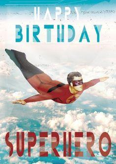 Happy Birthday Superhero Greeting Card by Max Hernn