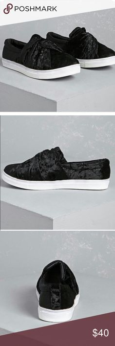 Wanted crushed black velvet sneakers 7 Never worn, just tried on and they are too big.  Wanted brand slip on sneakers. The upper is a crushed velvet with a twisted front detail. White sole, with a 2 inch platform. These run a little big. Wanted Shoes