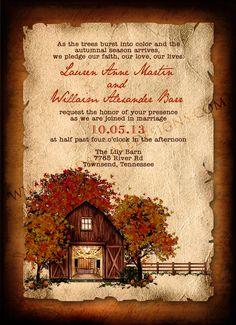 Vintage Rustic Autumn Wedding Invitation DEPOSIT. $50.00, via Etsy.