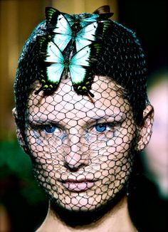 "deprincessed: "" The Butterfly Effect: Ava Smith wears a mesh face mask along with a dazzling butterfly headpiece at Giambattista Valli Haute Couture Fall/Winter 2012 """