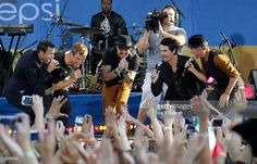 Singers Howie Dorough, Nick Carter, A. J. McLean, Kevin Richardson, and Brian Littrell of the Backstreet Boys perform on ABC's 'Good Morning America' at Rumsey Playfield, Central Park on August 31, 2012 in New York City.