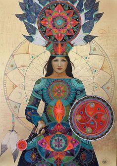 "shamandrummer: Shamanic Artist Caroline Manière. ""Sacred Drumming"" http://carolinemaniere.com/portfolio/femme-medecine/ https://www.facebook.com/caroline.maniere"
