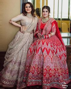 Image may contain: 2 people, people standing Indian Fashion Dresses, Indian Bridal Outfits, Indian Bridal Fashion, Dress Indian Style, Lehnga Dress, Bridal Lehenga Choli, Brocade Lehenga, Net Lehenga, Half Saree Designs