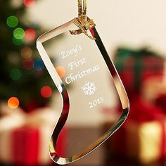 """A Personal Creations Exclusive! We personalize all our glass ornaments with any 3 line message up to 16 characters per line and any numeric date or any year. First choose your shape. Next, pick a script or block font. Add any of the 6 accent graphics in the box below to create a one-of-a-kind keepsake tailored to any significant event. All ornaments come with a gold ribbon for hanging. Ornaments measure approximately 4""""H."""