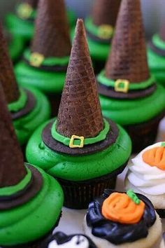 cute witch cupcakes :) use a small chocolate sugar ice cream cone for the hat