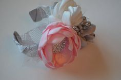 Silver Cream and Soft Pink  Fabric Flowers by TheVintageCabbgeRose, $15.00