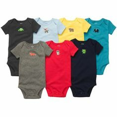 7-Pack Short-Sleeve Bodysuits love the bold colors wishing they were long sleeve tshirt-style bodies