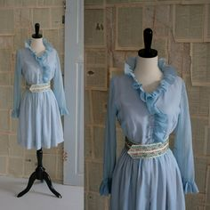 60s Pale Blue Party Dress with Ruffled Collar $76.00