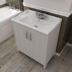 Devon Cashmere 600mm Traditional 2 Door Vanity Unit With Ceramic Basin At  Victorian Plumbing UK £