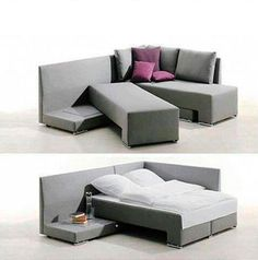 Sofá cama For Guests when there may not be a spare room. Or if we just want to cuddle in the living room. Space Saving Furniture, Cool Furniture, Furniture Design, Furniture Ideas, Multifunctional Furniture, Furniture Movers, Furniture Outlet, Tiny House Furniture, Modular Furniture
