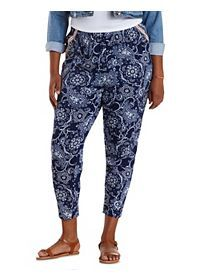 Plus Size Embroidered Paisley Print Tapered Pants