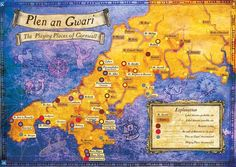PLEN AN GWARI | Cornwall: Map of Plen an Gwari locations from Brian Hoskin and the Golden Tree Plen an Gwari project     ✫ღ⊰n
