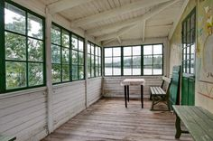 Old Swedish house, wall painting. Porch for dinner with a view even in rainy summer days.