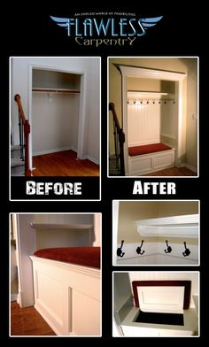 Back hall closet plans. turn mudroom closet into storage Entry Closet, Front Closet, Closet Mudroom, Closet Redo, Closet Remodel, Bathroom Closet, Closet Bench, Closet Paint, Closet Nook