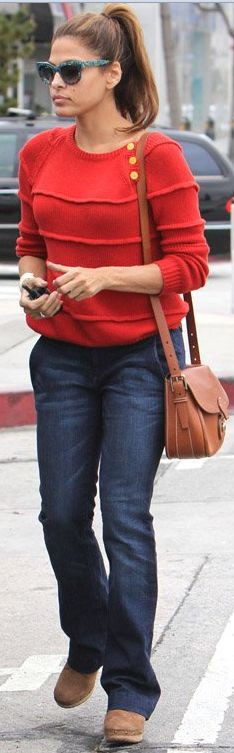 Who made Eva Mendes' brown handbag, jeans, and red button sweater that she wore in Beverly Hills on April 23, 2012?