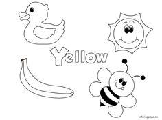 Color Yellow Worksheets For Kindergarten Color Worksheets For Preschool, Preschool Coloring Pages, Preschool Learning Activities, Free Preschool, Preschool Printables, Preschool Lessons, Color Activities, Kindergarten Worksheets, Kids Worksheets