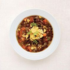 Summer is coming to and end, and we're looking forward to warming up indoors with a bowl of comforting soup. Slash calories without feeling hungry with these hearty recipes. Each of these recipes makes 4 servings.