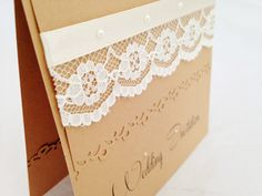 20 *Vintage Lace* pearl kraft pocket fold wedding day evening invitations RSVP
