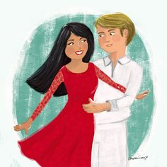 Retrato personalizado de um casal de noivos custom portrait.