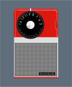 60's transistor radio illustration