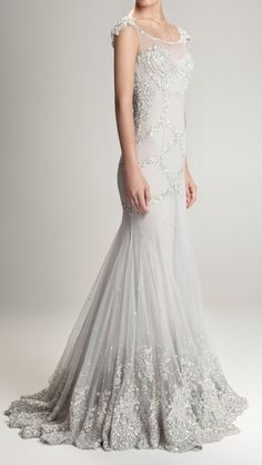 this in blush would be my dream dress! Gorgeous silver grey wedding gown with silver beaded detailing Bridal Gowns, Wedding Gowns, 1920s Wedding, Wedding Bride, Fall Wedding, Bridesmaid Dresses Online, Gray Weddings, Beautiful Gowns, Beautiful Gorgeous