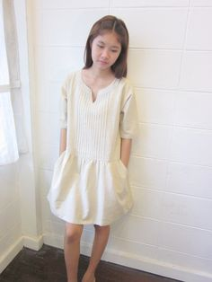 Image of Handwoven and natural dye cotton Aup Sorn dress