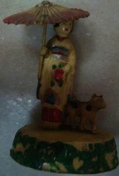 Old-vintage-Plastic-Celluloid-Lady-with-Dog-Figs-from-Japan-1960