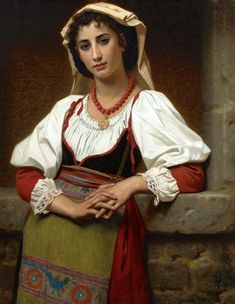 Hugues Merle, a French painter. Born in 1823 in St. He studied painting with Léon Cogniet. Hugues Merle began exhibiting at the Paris. Coral Art, William Adolphe Bouguereau, Beauty In Art, Painting Of Girl, Girl Paintings, Painting Art, Black And White Canvas, Italian Girls, Folk Costume