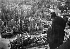20 A view taken from Dresden's town hall of the destroyed Old Town after the allied bombings between February 13 and 15, 1945. Some 3,600 aircraft dropped more than 3,900 tons of high-explosive bombs and incendiary devices on the German city. The resulting firestorm destroyed 15 square miles of the city center, and killed more than 22,000. (Walter Hahn/AFP/Getty Images) #