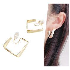 Clip On Earrings, Hoop Earrings, Square Earrings, Ear Piercings, Spiral, Wire, Brass, Change, Elegant