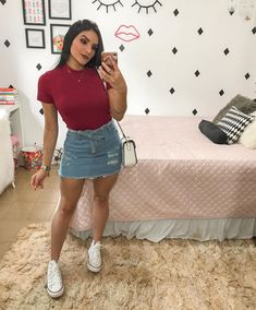 Summer Fashion Outfits, Cute Summer Outfits, Classy Outfits, Chic Outfits, Girl Outfits, Look Fashion, Skirt Fashion, Denim Skirt Outfits, Chor