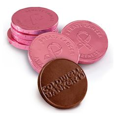 Rally for awareness with our delicious Belgian chocolate candy coins in pink foil. With stock ribbon art on one side and your custom log on the other. Minimum order 500 pieces. Must be ordered in specified minimum per chocolate flavors, foil color and embossed design.