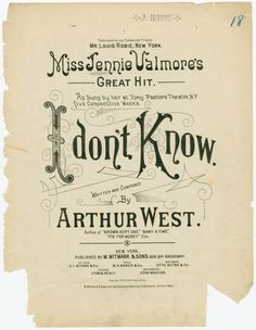 I don't know From New York Public Library Digital Collections. Library Services, Vintage Sheet Music, Music Covers, New York Public Library, New Friends, Cover Design, Writing, Digital, Words