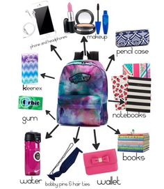 ideas for high school organization diy backpack essentials Middle School Supplies, Middle School Hacks, High School Hacks, Life Hacks For School, Diy School Supplies, High School Makeup, Tumblr School Supplies, Back To School Outfits Highschool, School Supplies Highschool
