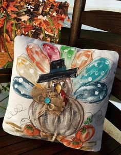 Fabric Painting, Canvas Fabric, Cotton Canvas, Kid Painting, Fall Pillows, Shabby Cottage, Fall Halloween, Halloween Decorations, Autumn Decorations