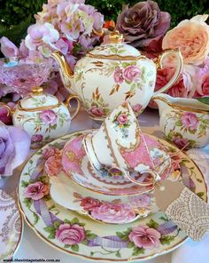 Pink Floral Tea Set.