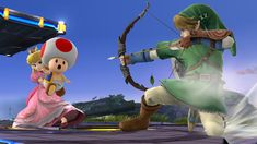 Peach with Toad vs Link – Super Smash Bros., Wii U