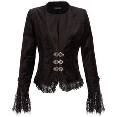 Womens Punk Rave Black Velvet Victorian Gothic Jacket with Lace... ($90) ❤ liked on Polyvore featuring outerwear, jackets, tops, black, victorian jacket, punk jacket, gothic jackets, velvet gothic jacket and punk gothic jacket