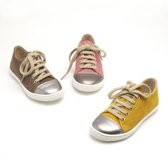 Elfie is our girls trainer. Very chic with a platinum metallic toe and beige suede or now in grey as well. Great for both younger girls and teenagers to run around in.  Shop at: http://www.papouelli.com/shop/elfie-trainer/