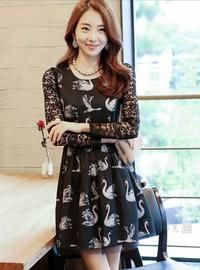 Black Swan Dress With LaceWork on Full Sleeves