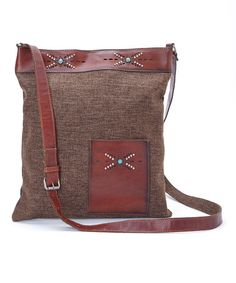 Brown Turquoise Stud Accent Patch Leather Crossbody Bag by I Love Accessories #zulily #zulilyfinds