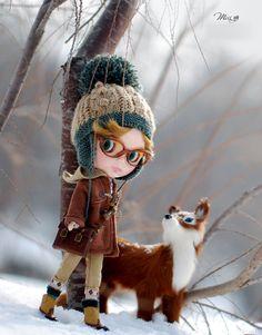 Señorita abrigo con botones de cuerno de buey para la muñeca Blythe - muñeca traje - Brown