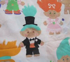 Vintage Treasure Trolls Twin Size Bed Sheet Flat 1992 Fabric Troll Dolls