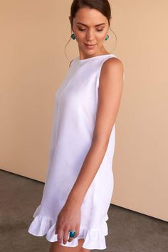 The prettiest white linen mini dress for your summer holidays, pair with your slides or espadrilles. Fácil Blanco is proudly designed and tailored in Dubai from Italian linen. Feminine Dress, Classy Dress, African Print Fashion, Fashion Prints, White Outfits, Classy Outfits, White Kaftan, White Linen Dresses, Nice Dresses